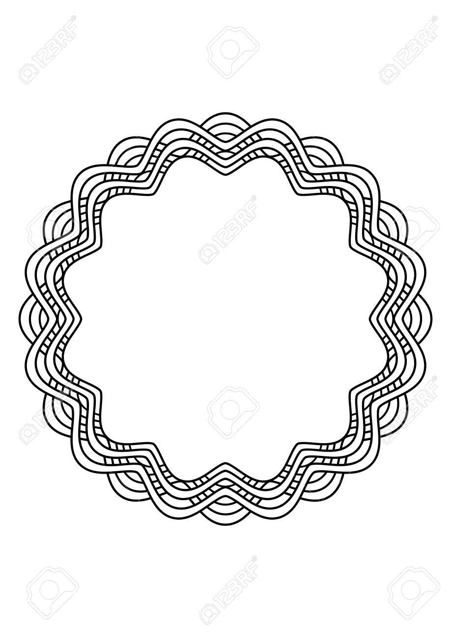 918x1300 Circular Black And White Abstract Design With Curved Objects Stock