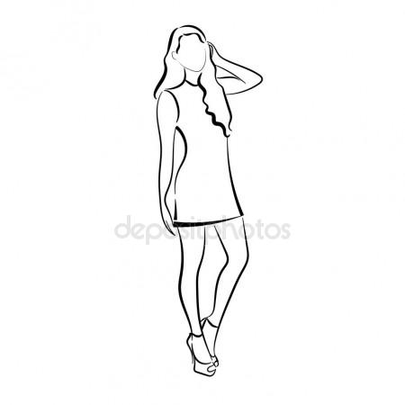 450x450 Outline Drawing Thin, Curved Lines, Girl, Young Woman. Stock