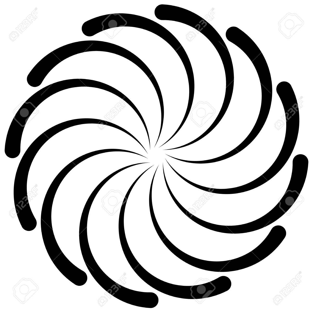 1300x1300 Spiral Shape On White. Curved Lines Rotating From A Centric Point