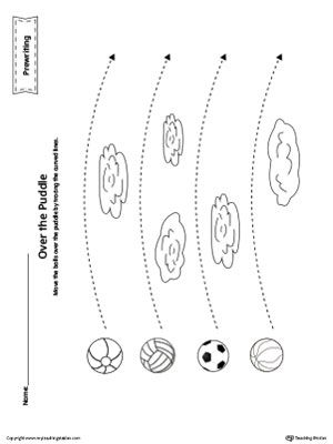300x400 Balls Curved Line Tracing Prewriting Worksheet Worksheets
