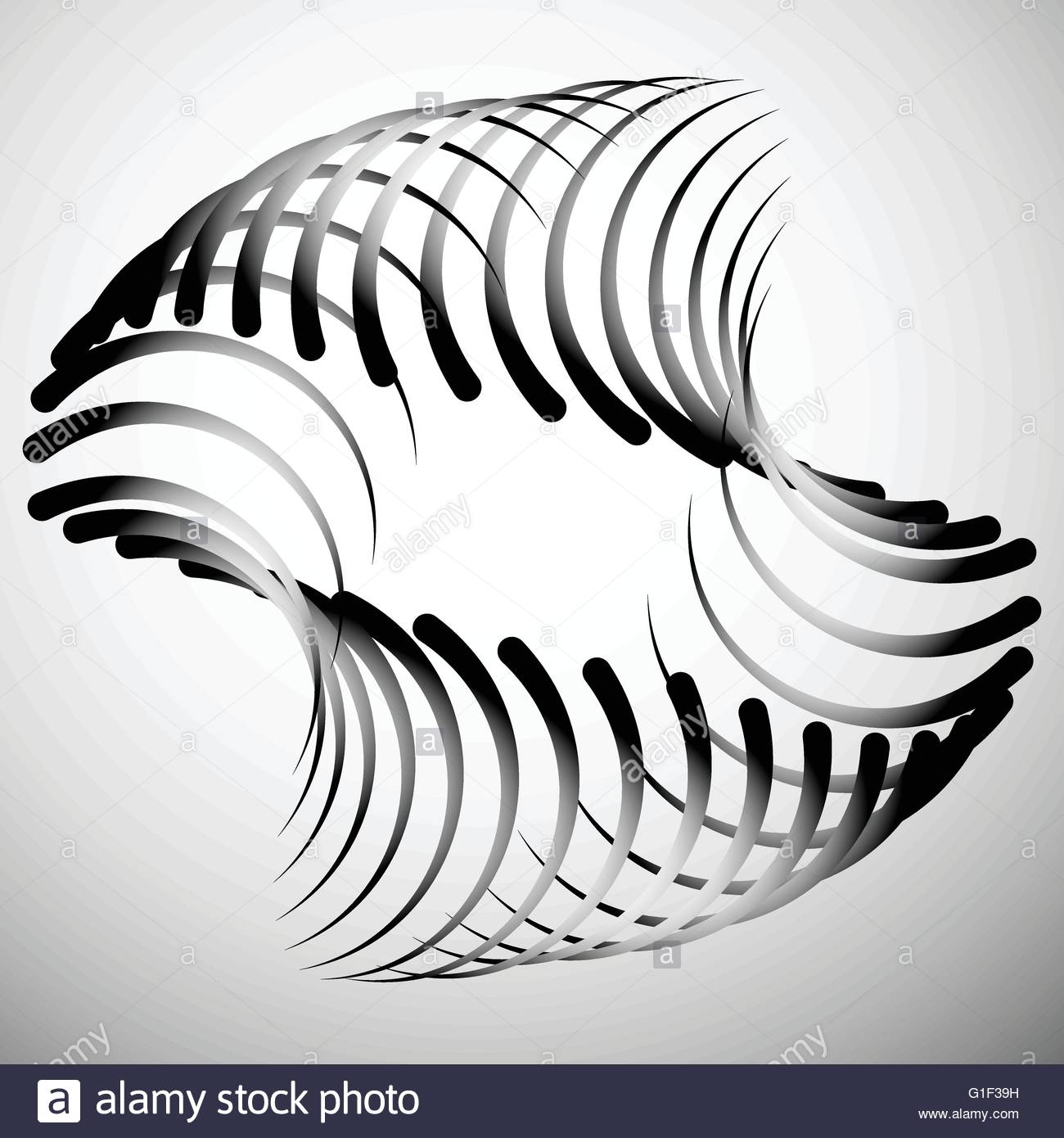 1300x1390 Abstract Element With Intersecting Curved Lines. Grayscale
