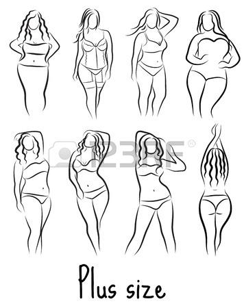 356x450 Set Girl Silhouette Sketch Plus Size Model. Curvy Woman Symbol