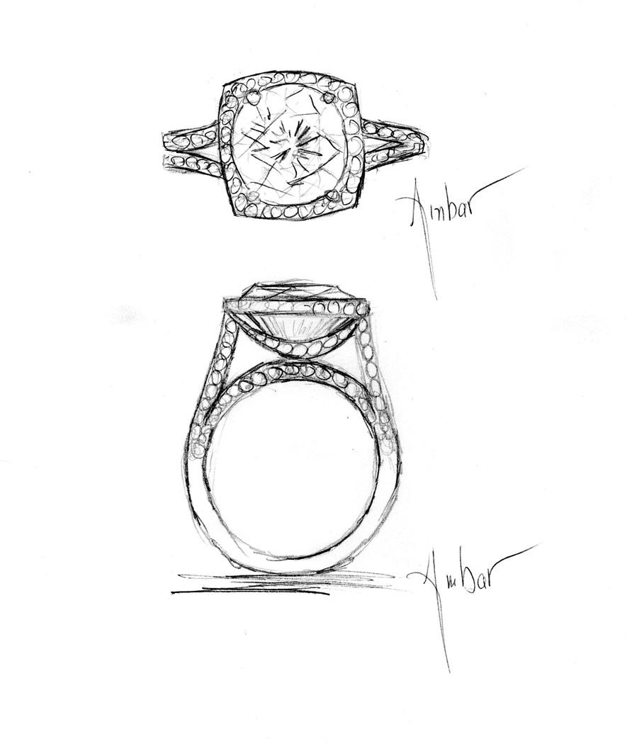 885x1050 Hand Drawing Of Custom Engagement Ring Setting