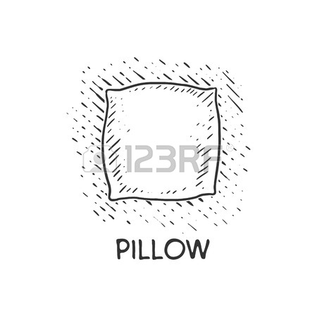 450x450 Pillow Engraving Vector Illustration. Cushion Drawing. Scratch
