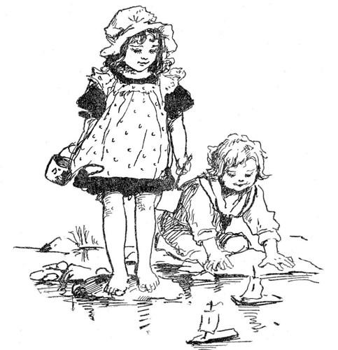 483x500 Retro Vintage Little Boy Girl Beach Play Sail Boat Cushion Cover
