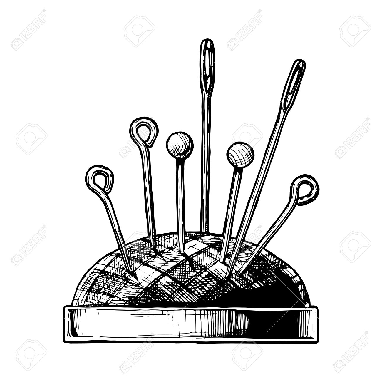 1300x1300 Vector Black And White Hand Drawn Illustration Of Pin Cushion