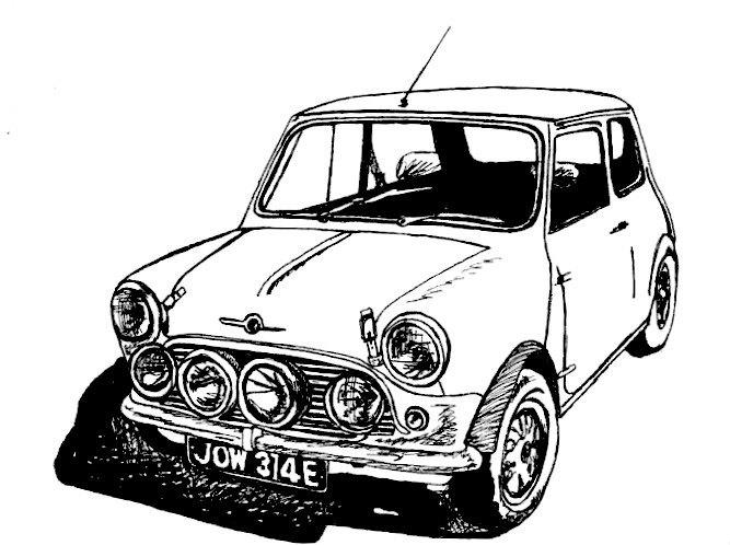 667x498 Classic Mini Cooper Sports Car Car Drawing Wall Decor