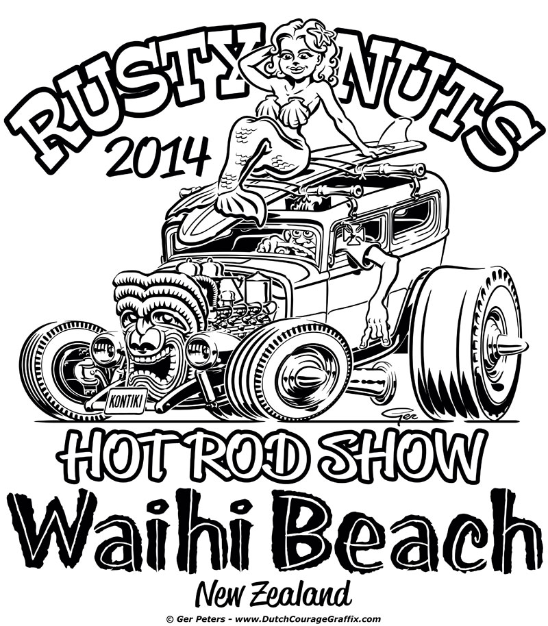 800x914 T Shirt Artwork For Rusty Nuts Hot Rod Show 2014