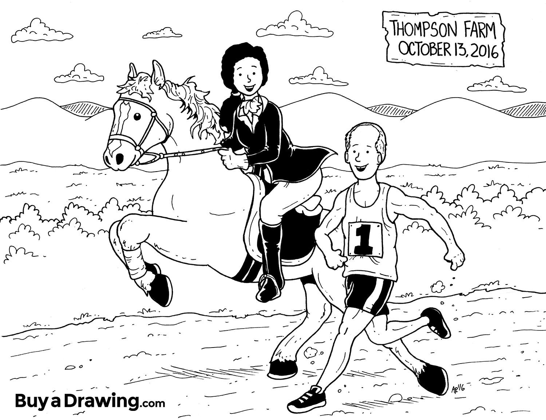 1500x1153 Wedding Day Cartoon Drawing Gift For Marathon Runnernd