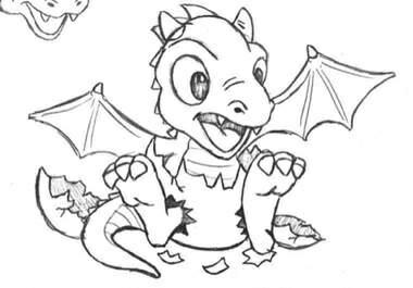 380x265 Draakje Uit Ei Coloring Dragons, Drawings