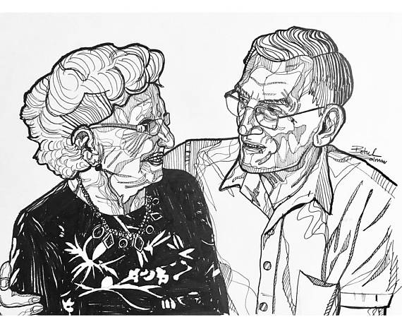 570x456 Custom Pen Line Drawing In Black And White. Two Elderly Couple By
