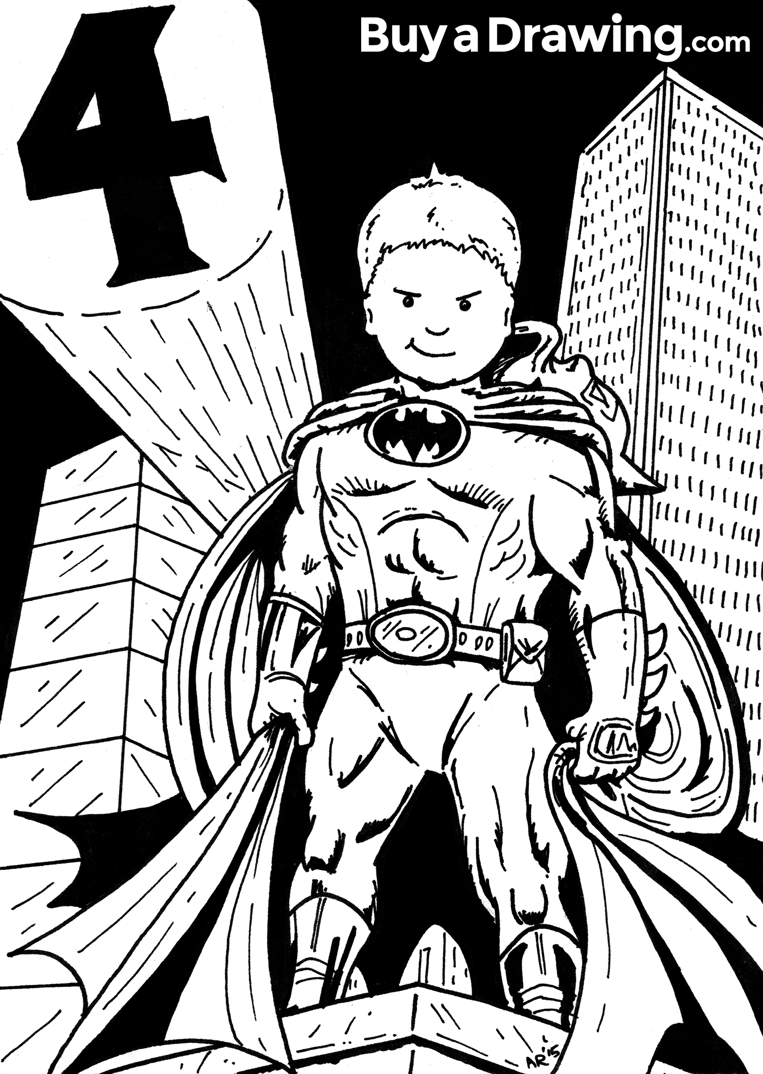 1500x2112 Batman Custom Cartoon Caricature Of 4 Year Old