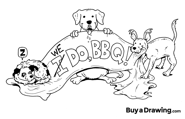 1500x963 Cartoon Dog Custom Wedding Invitation