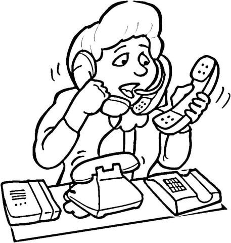 457x480 Customer Service Operator Coloring Page Free Printable Coloring