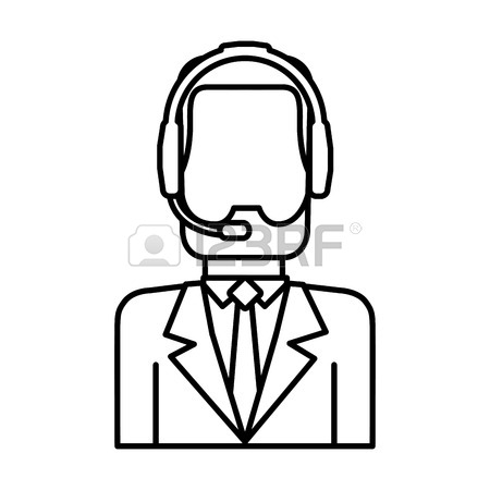 450x450 Man With Headset Icon Over White Background Customer Service