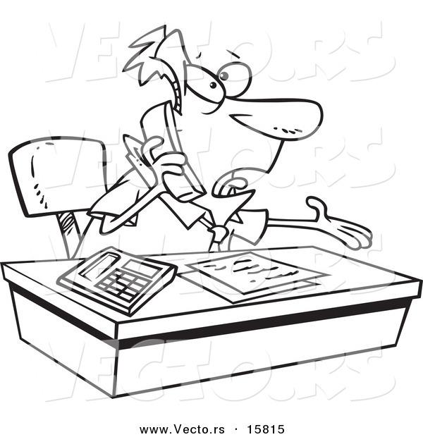 600x620 Vector Of A Cartoon Businessman Calling Customer Service