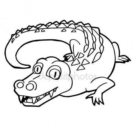 450x450 Cartoon Cute Crocodile Coloring Page Vector. Stock Vector