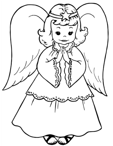 371x480 Cute Little Angel Coloring Page Free Printable Pages