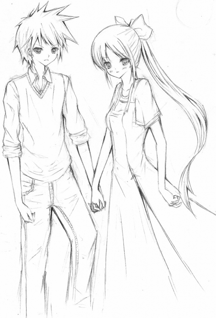 698x1024 anime cute couple sketch cute anime couple realistic drawing