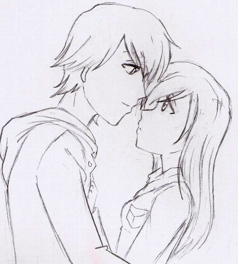 925x1024 Cute Couple Anime Drawing Easy Cute Anime Couple By