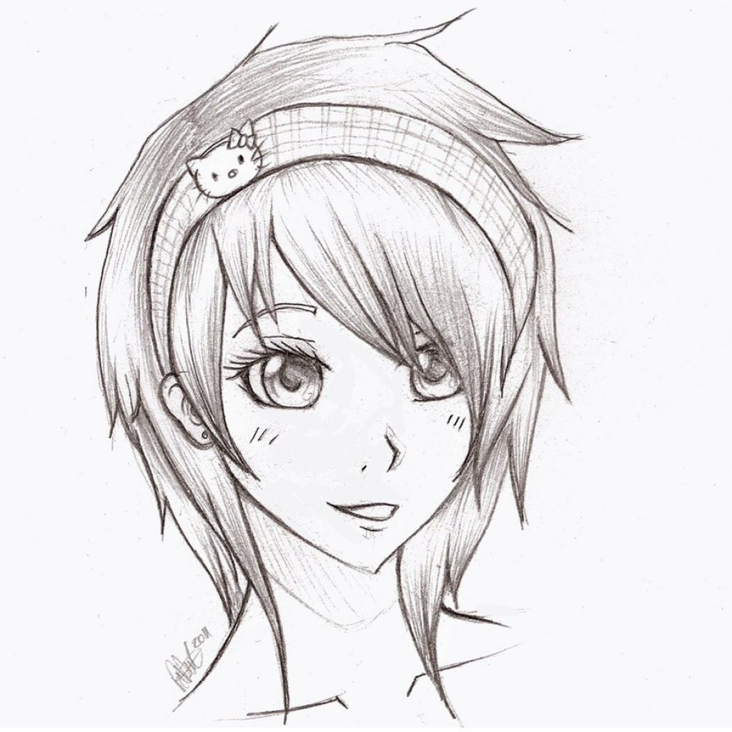 1024x1024 Drawing Pencil Sketches Anime Anime Girl Face Drawings Pencil