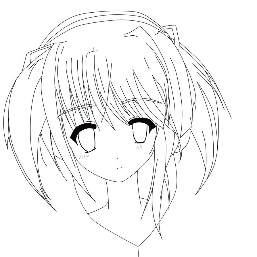 894x894 Cute Anime Girl Lineart By Crystalcat32