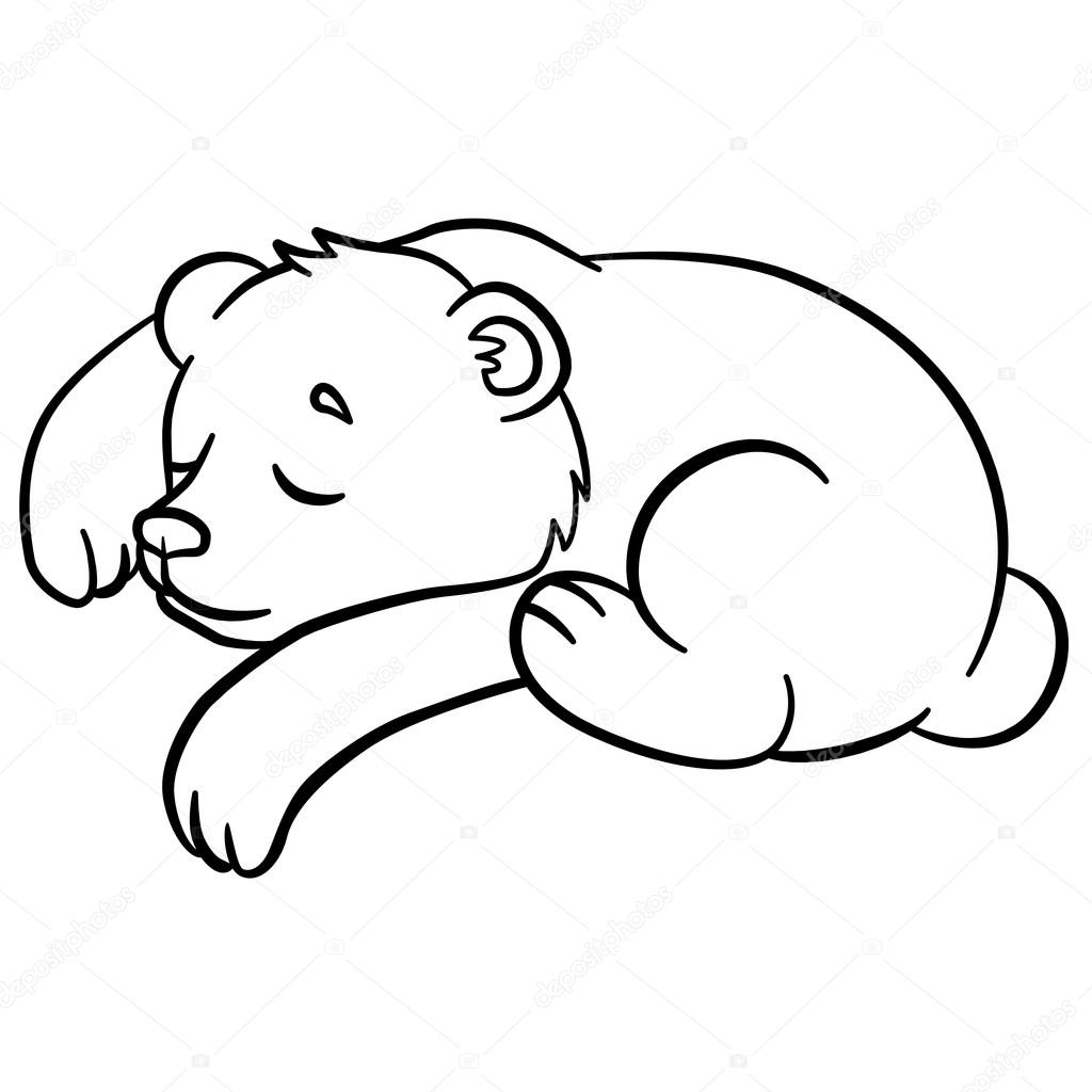1024x1024 Coloring Pages. Wild Animals. Little Cute Baby Bear Sleeps