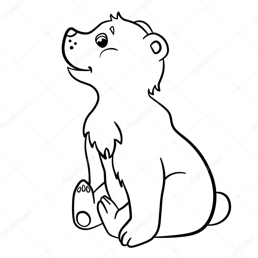 1024x1024 Coloring Pages. Wild Animals. Little Cute Baby Bear. Stock