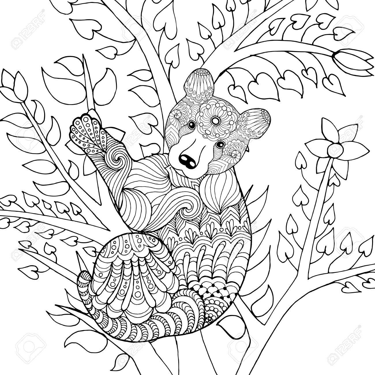 1300x1300 Cute Baby Bear On Tree. Black White Hand Drawn Doodle Animal