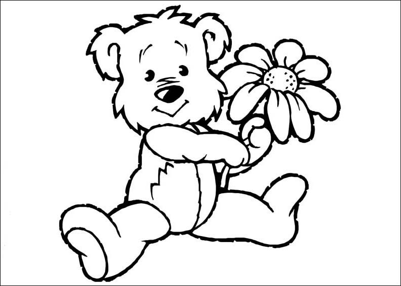 794x567 Cute Baby Bear In The Spring Coloring Pages Free Coloring Book