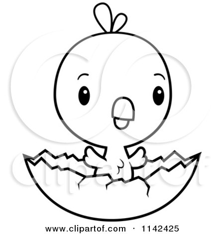 450x470 Cartoon Clipart Of A Black And White Cute Baby Chick Hatching