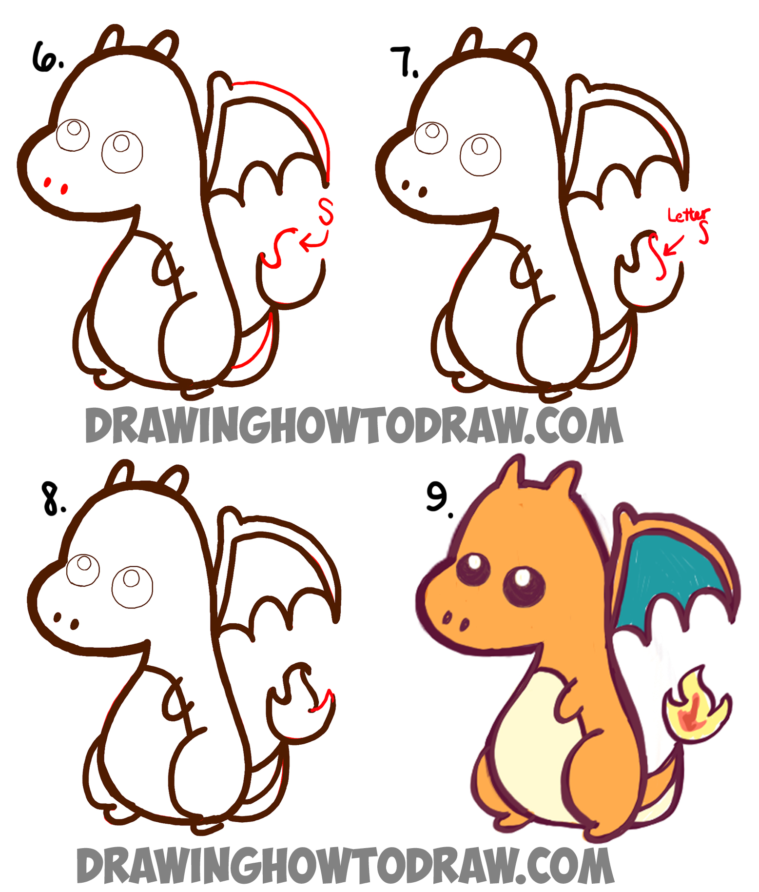 1557x1829 How to Draw a Cute Baby Chibi Charizard from Pokemon in Easy Steps
