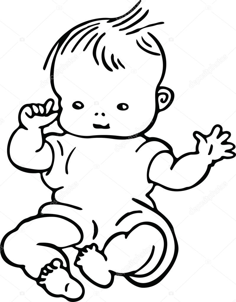 799x1023 Simple Line Drawing Of A Cute Baby Stock Vector Prawny