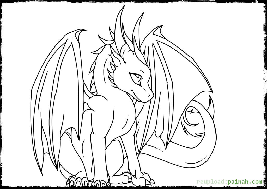 1024x728 Cute Dragon Coloring Pages
