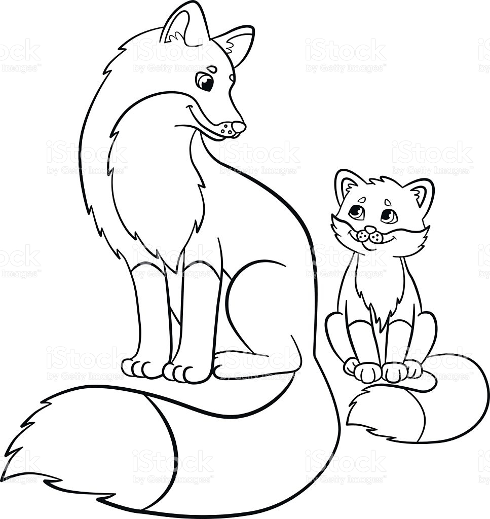967x1024 Coloring Pages Wild Animals Mother Fox With Her Little Cute Baby