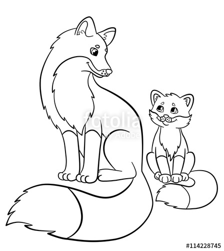 448x500 Coloring Pages. Wild Animals. Mother Fox With Her Little Cute Baby