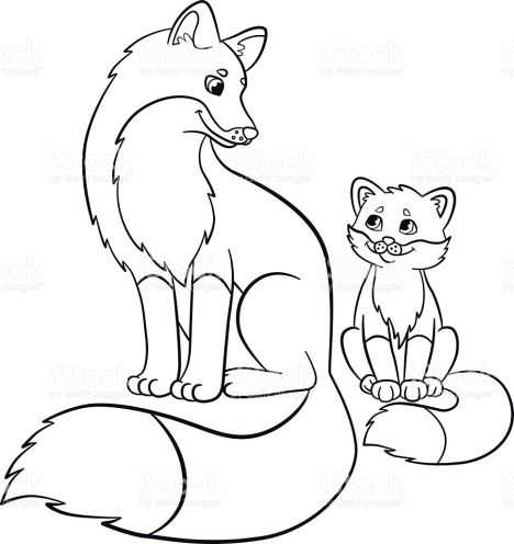 468x496 Cute Baby Fox Coloring Pages
