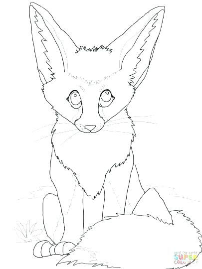 405x540 Cute Baby Fox Coloring Pages