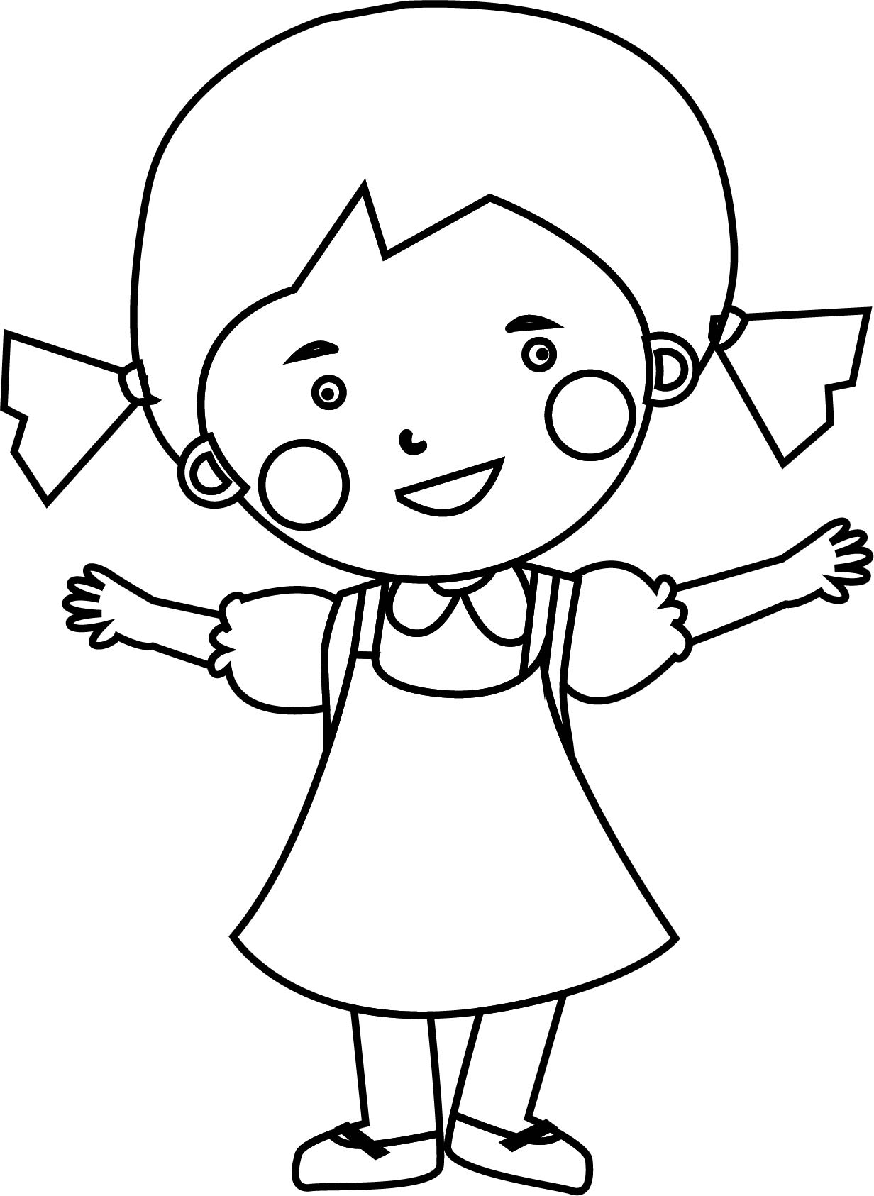 1232x1686 Cute Child Girl Coloring Page Wecoloringpage