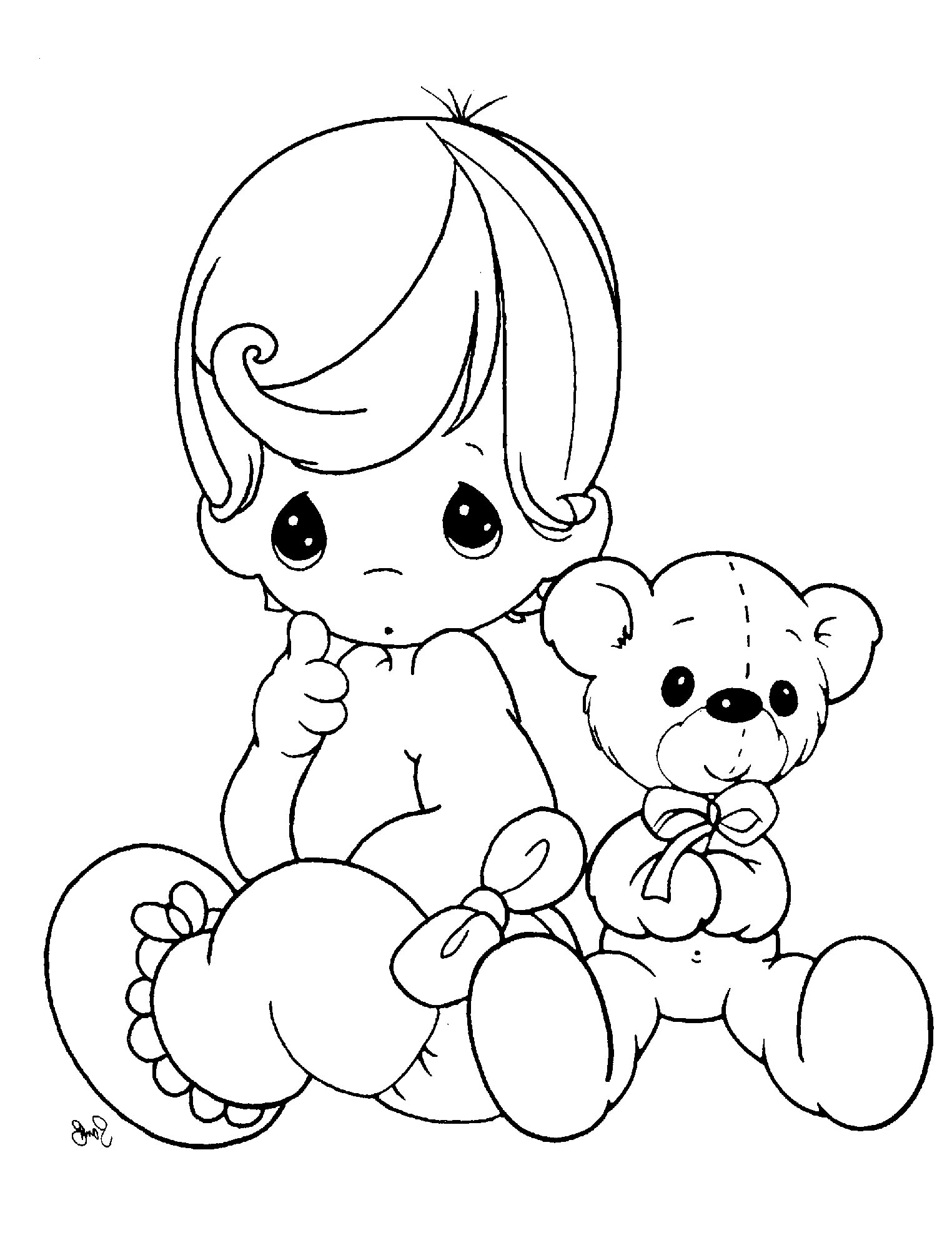1524x2008 Precious Moments Sitting With A Cute Doll Coloring Pages Kids