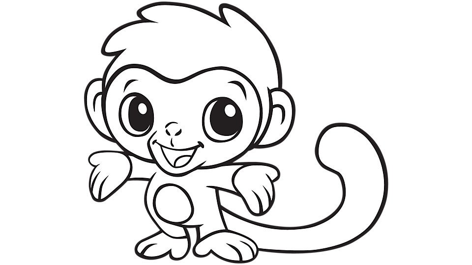 960x540 Coloring Pages Of Baby Monkeys