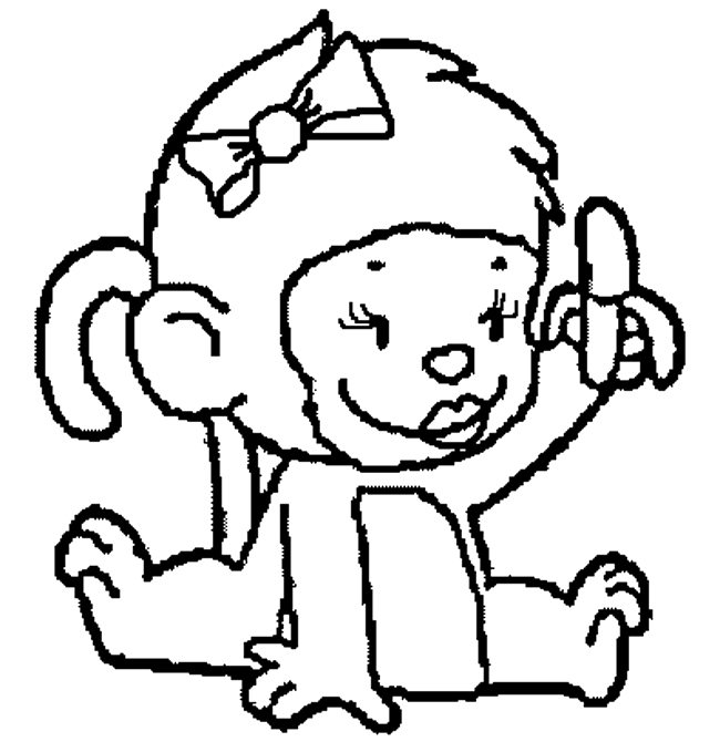 650x670 Cute Baby Monkey Coloring Page Free Download