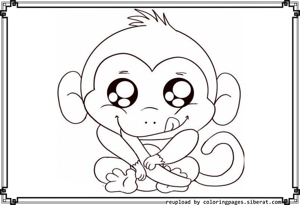 1024x700 Cute Baby Monkey Coloring Pages Printables