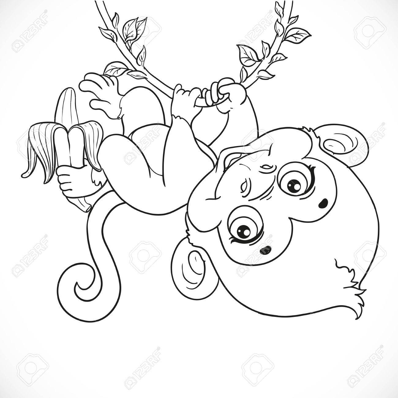 1300x1300 Cute Baby Monkey With Banana Hanging On The Vine Outlined Isolated