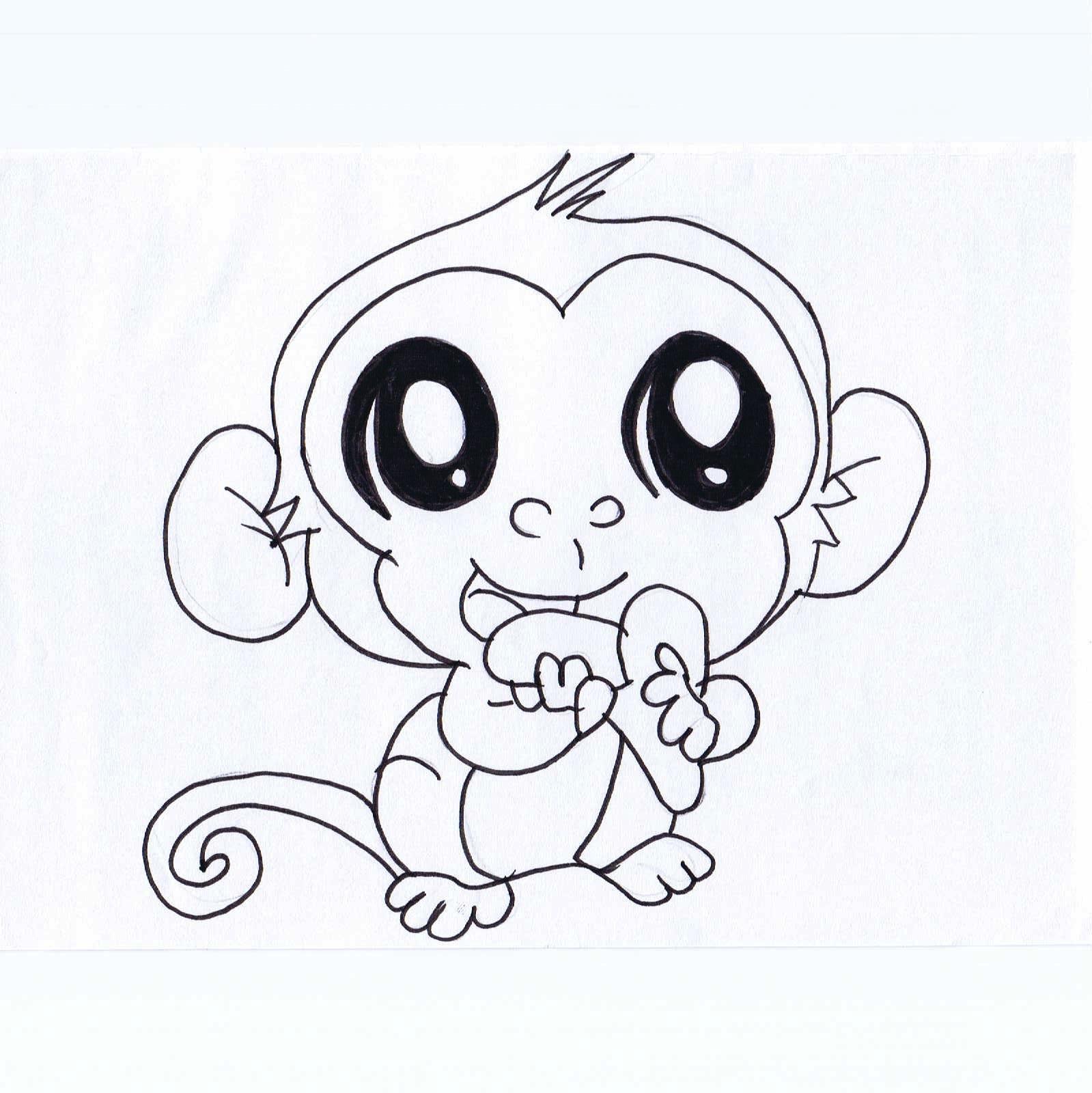 1599x1600 Cute Drawings Of Monkeys