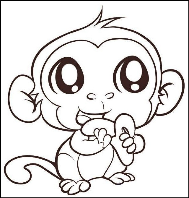 640x670 Monkey Coloring Pages Online A Fun Learning For Kids