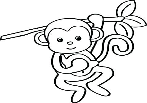 476x333 Monkey Coloring Pages Printable Baby Monkey Coloring Pages Cute
