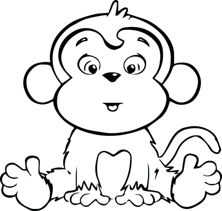 728x692 Monkey Coloring Pages Printable Baby Monkey Coloring Pages Get