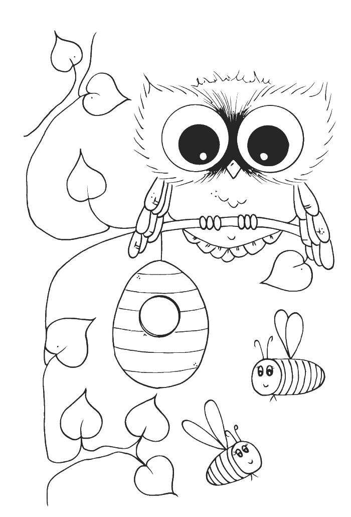 700x1030 Cute Owl With Bees Coloring Pages