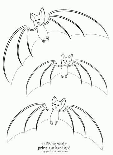 363x500 3 cute bats coloring page - Bat Picture To Color